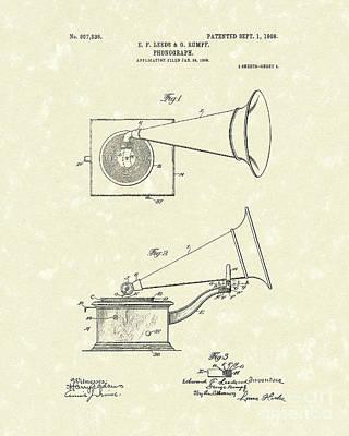 Phonograph 1908 Patent Art Poster by Prior Art Design