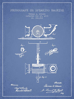 Phonograph Or Speaking Machine Patent Drawing From 1878 - Light  Poster by Aged Pixel