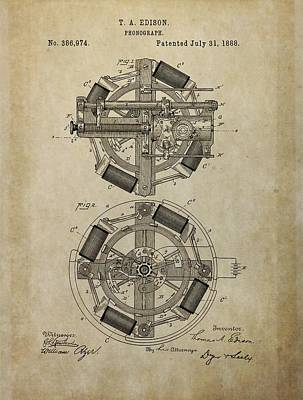 Phonograph Patent Drawing Poster by Dan Sproul