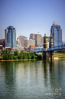 Photo Of Cincinnati Skyline And Roebling Bridge Poster by Paul Velgos