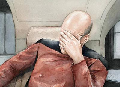 Picard Facepalm Meme Watercolor Poster by Olga Shvartsur