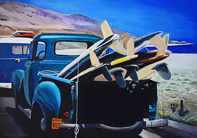 Pickup Truck Poster by Chikako Hashimoto Lichnowsky