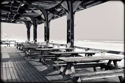 Picnic Tables At The Beach Poster by Eric Benjamin