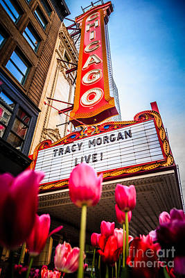 Pictue Of Chicago Theatre Sign With Tracy Morgan Poster by Paul Velgos