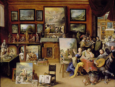 Pictura, Poesis And Musica In A Pronkkamer Oil On Panel Poster by Frans II the Younger Francken
