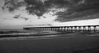 Pier In Black And White Poster by Sandy Keeton
