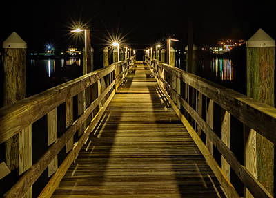 Pier Into The Night Poster by Len Saltiel