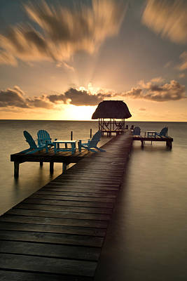 Pier With Palapa On Caribbean Sea Poster by Panoramic Images
