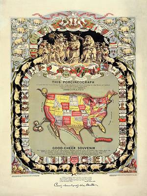 Pig-shaped Map Of The Usa Poster by Library Of Congress