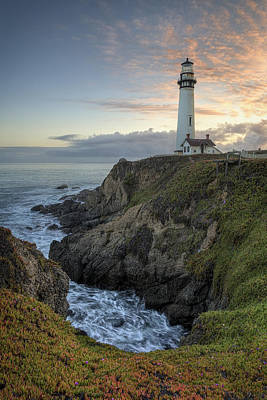 Pigeon Point Lighthouse At Sunset Poster by Adam Romanowicz