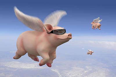 Pigs Fly Poster by Mike McGlothlen