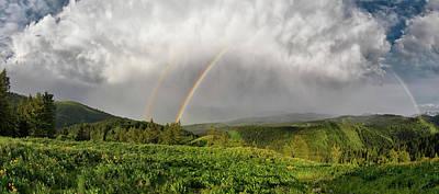 Pine Creek Pass Rainbow Panoramic Poster by Leland D Howard