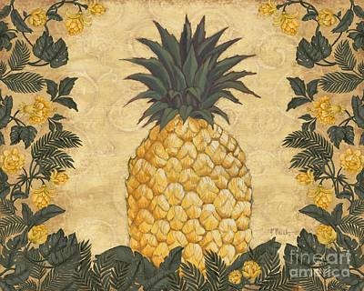 Pineapple Floral Poster by Paul Brent