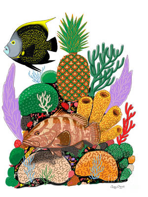 Pineapple Reef Poster by Carey Chen
