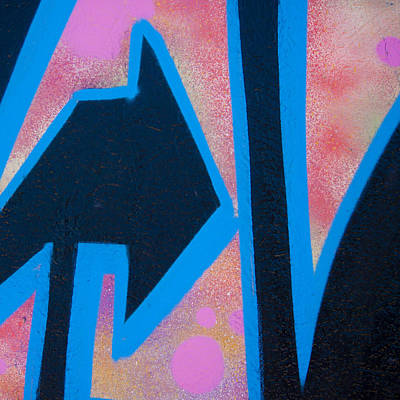 Pink And Blue Graffiti Arrow Square Poster by Carol Leigh