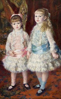Pink And Blue Poster by Pierre-Auguste Renoir