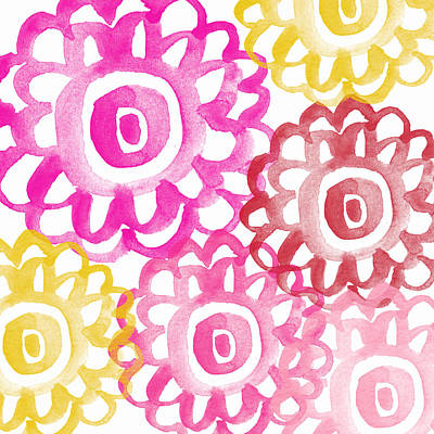 Pink And Yellow Flowers- Painting Poster by Linda Woods