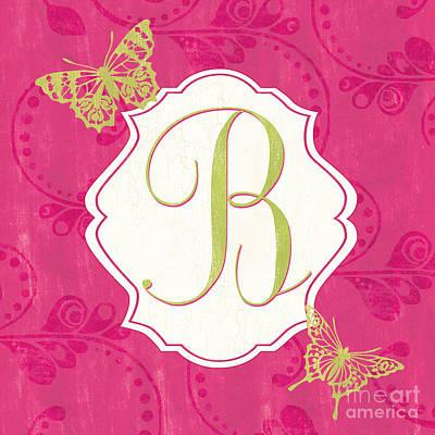 Pink Butterfly Monogram Poster by Debbie DeWitt