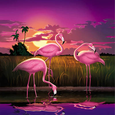 Pink Flamingos At Sunset Tropical Landscape - Square Format Poster by Walt Curlee