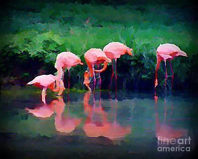 Pink Flamingos Poster by John Malone