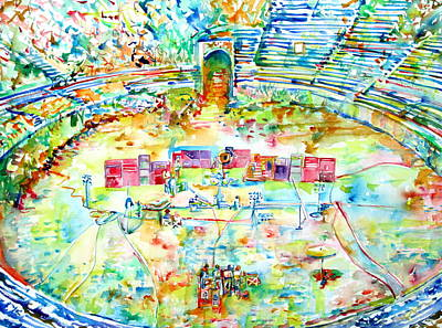 Pink Floyd Live At Pompeii Watercolor Painting Poster by Fabrizio Cassetta