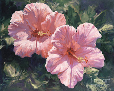 Pink Hibiscus Poster by Laurie Hein