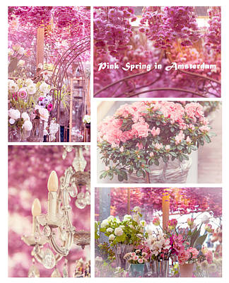 Pink Spring In Amsterdam. Flower Market Poster by Jenny Rainbow