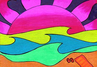 Pink Sunset On A Golden Sand Beach Poster by Geree McDermott