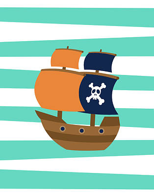 Pirate Boat II Poster by Tamara Robinson