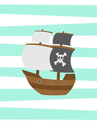 Pirate Boat Poster by Tamara Robinson