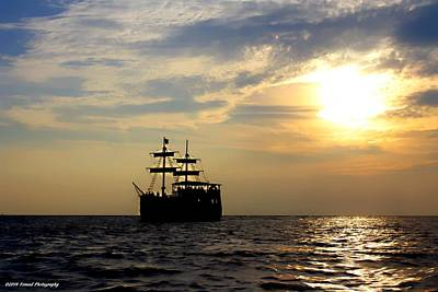 Pirate Ship At Sunset Poster by Debra Forand