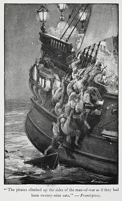 Pirates Boarding A Ship Poster by British Library