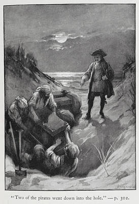 Pirates Burying Treasure Poster by British Library
