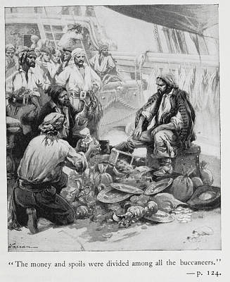 Pirates Sort Through Their Plunder Poster by British Library