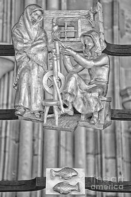 Pisces Zodiac Sign - St Vitus Cathedral - Prague - Black And White Poster by Ian Monk