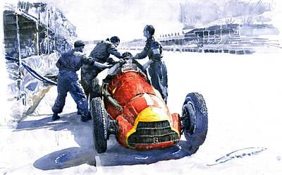 Pit Stop Alfa Romeo158 British Gp 1950 J M Fangio Poster by Yuriy  Shevchuk