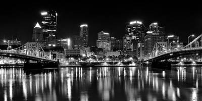 Pittsburgh Black And White Panorama Poster by Frozen in Time Fine Art Photography