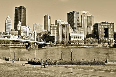 Pittsburgh In Sepia Poster by Frozen in Time Fine Art Photography