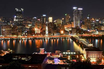 Pittsburgh Over The Monongahela Poster by Frozen in Time Fine Art Photography