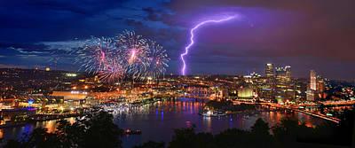 Pittsburgh Pennsylvania Skyline Fireworks At Night Panorama Poster by Jon Holiday