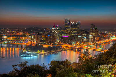 Pittsburgh Skyline Morning Twilight I Poster by Clarence Holmes