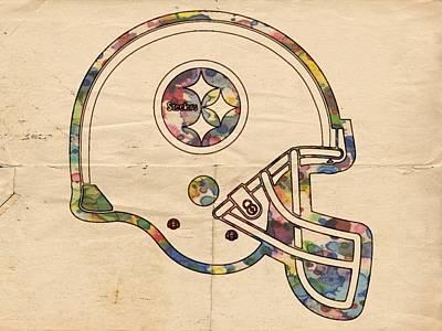 Pittsburgh Steelers Helmet Art Poster by Florian Rodarte