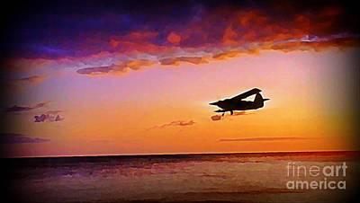 Plane Pass At Sunset Poster by John Malone