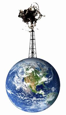 Planet Earth With An Oil Well Poster by Victor De Schwanberg