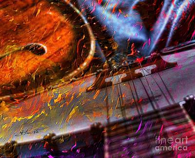 Play It Again Sam Digital Guitar And Banjo Art By Steven Langston Poster by Steven Lebron Langston