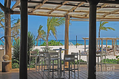 Playa Blanca Restaurant Bar Area Punta Cana Dominican Republic Poster by Heather Kirk