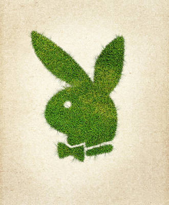Wasted Poster featuring the drawing Playboy Grass Logo by Aged Pixel