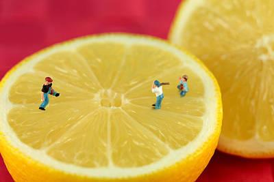 Playing Baseball On Lemon Poster by Paul Ge