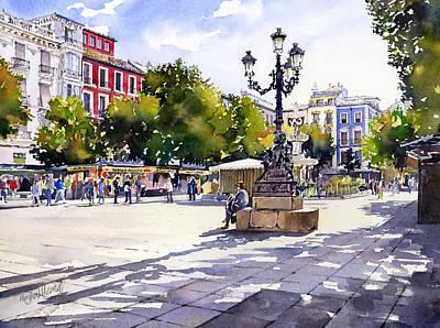 Plaza Bib Rambla Granada Poster by Margaret Merry