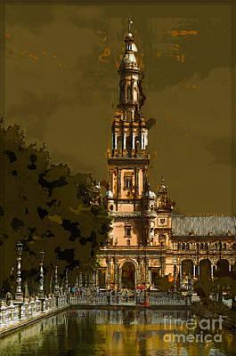 Plaza De Espana - Seville Poster by Mary Machare